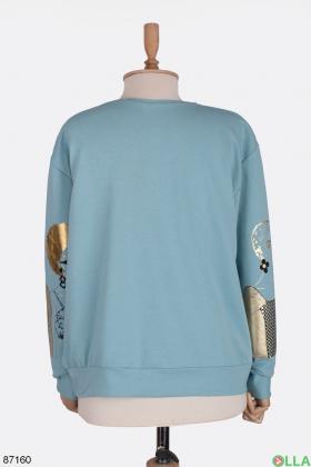 Женский голубой свитшот с принтом