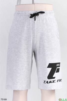 Мужские светло-серые спортивные шорты