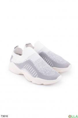 Женские серо-белые кроссовки без шнуровки