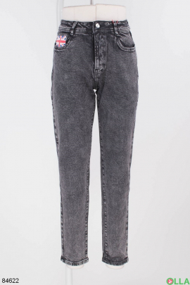Женские темно-серые джинсы