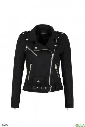 Женская замшевая куртка-косуха