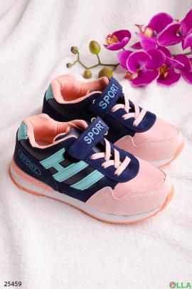 Синие с розовым кроссовки