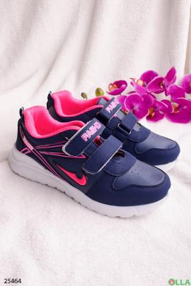 Синие кроссовки на липучках