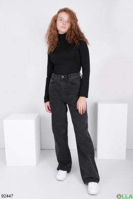 Женские темно-серые джинсы-клёш
