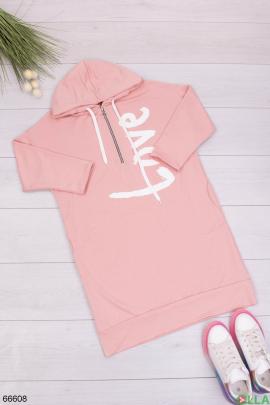 Женское розовое худи-платье с надписью
