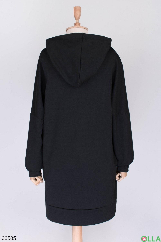 свитшот черный с капюшоном
