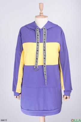Женское двухцветное худи-платье с капюшоном