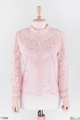 Женская розовая блузка с кружевом