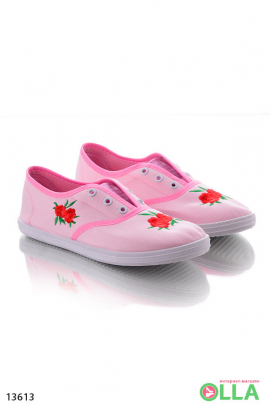 Кеды с цветами на носке