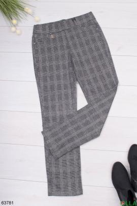 Женские брюки в клетку без утеплителя