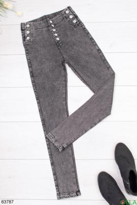 Женские серые джинсы без утеплителя
