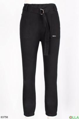 Женские брюки с ремнем без утеплителя