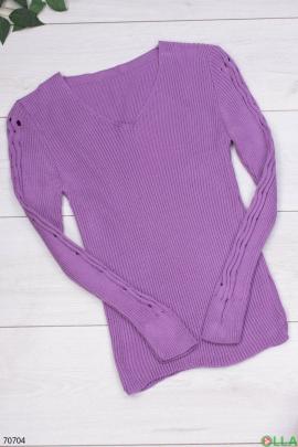 Женский фиолетовый трикотажный свитер
