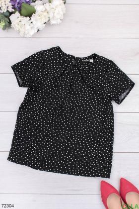 Женская черная блузка в горох