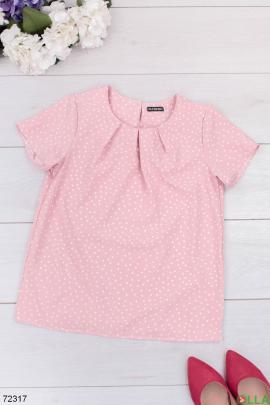 Женская розовая блузка в горох