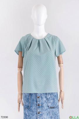 Женская бирюзовая блузка в горох