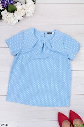 Женская голубая блузка в горох