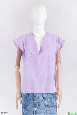 Женская лиловая блузка в горох