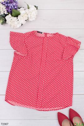 Женская красная блузка в горох