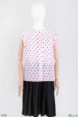 Женская белая блузка в принт