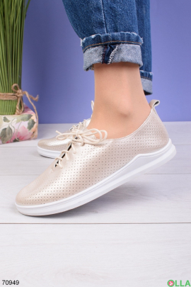 Женские золотистые туфли на шнуровке