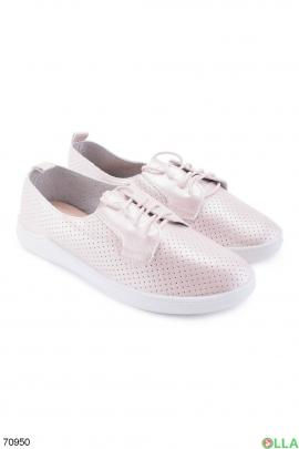 Женские светло-розовые туфли на шнуровке