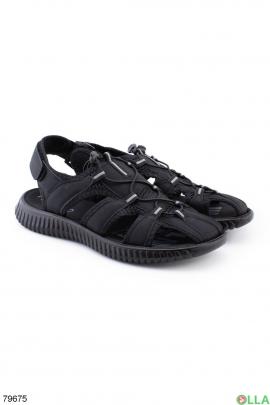 Мужские черные сандалии на липучке