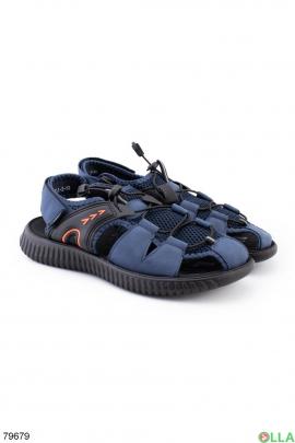 Мужские синие сандалии на липучке