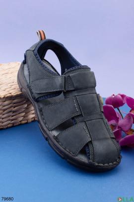 Мужские темно-серые сандалии из комбинированого материала