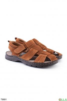 Мужские коричневые сандалии из комбинированого материала