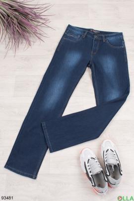 Мужские синие джинсы на флисе