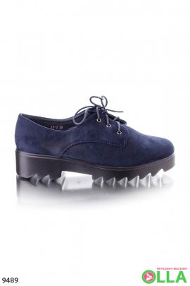 Замшевые синие туфли