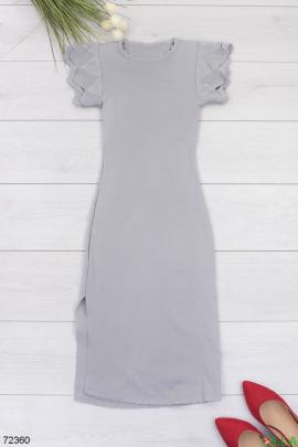 Женское серое трикотажное платье