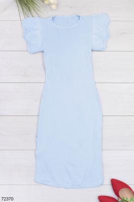 Женское голубое трикотажное платье