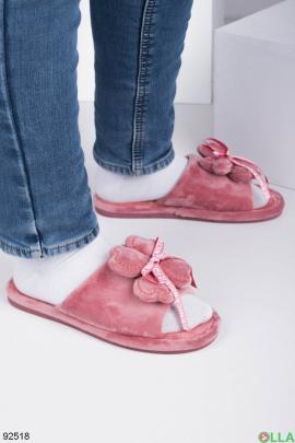 Женские розовые комнатные тапочки