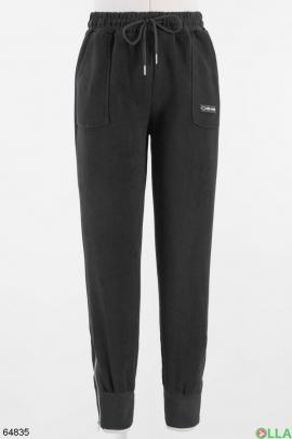 Женские черные спортивные брюки без утеплителя