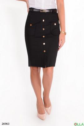 Черная  юбка с поясом и пуговицами