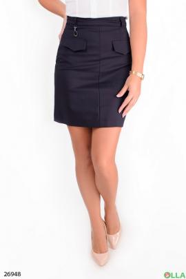 Синяя  юбка с высокой талией