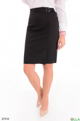 Женская черная юбка с поясом