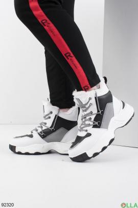 Женские зимние черно-белые кроссовки из эко-кожи