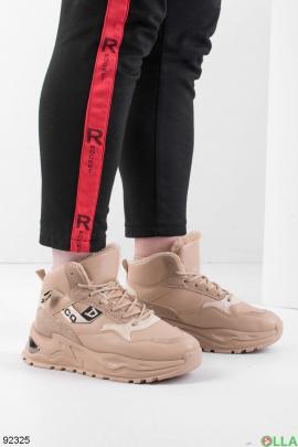 Женские зимние бежевые кроссовки на шнуровке