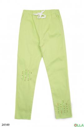 Салатовые штаны на резинке