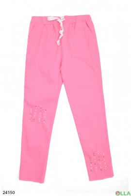Розовые штаны на резинке