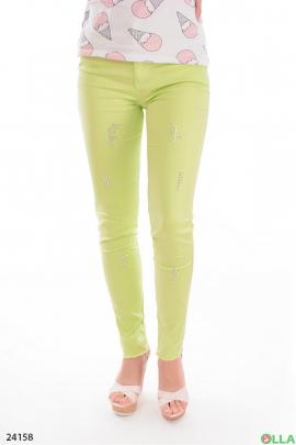 Женские брюки салатового цвета
