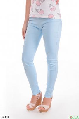 Женские брюки голубого цвета