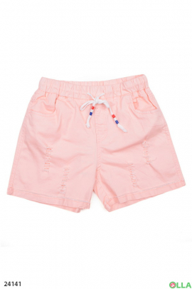Розовые шорты на резинке