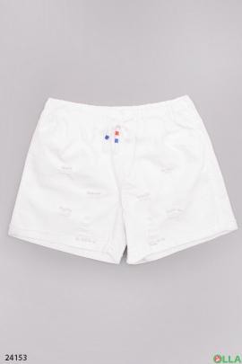 Белые  шорты на резинке