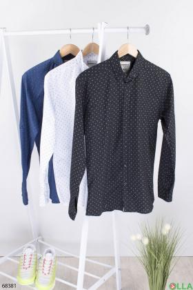 Мужская черная рубашка в горох