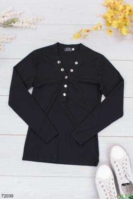 Женская черная кофта з заклепками