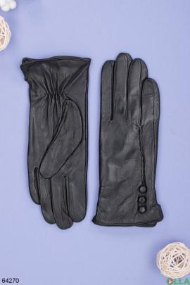 Женские зимние черные перчатки из эко-кожи
